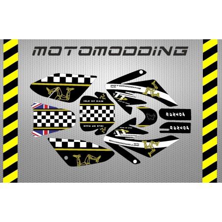 Pegatinas pit bike malcor racer Isle Of Man HONDA CRF70