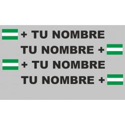 Bandera Andalucía mas tu nombre pegatinas vinilos adhesivos sticker rotulos