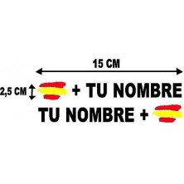 Bandera España mas tu nombre pegatinas vinilos stickers rotulos adhesivos
