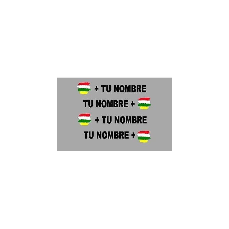 Pegatina espejo bandera más nombre LA RIOJA