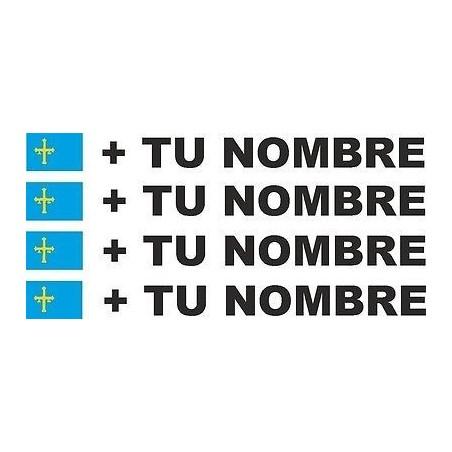 4 X Bandera Asturias más tu nombre pegatinas vinilos