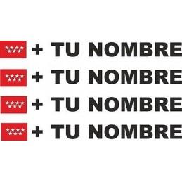 Bandera Madrid más tu nombre pegatinas vinilos stickers calcas