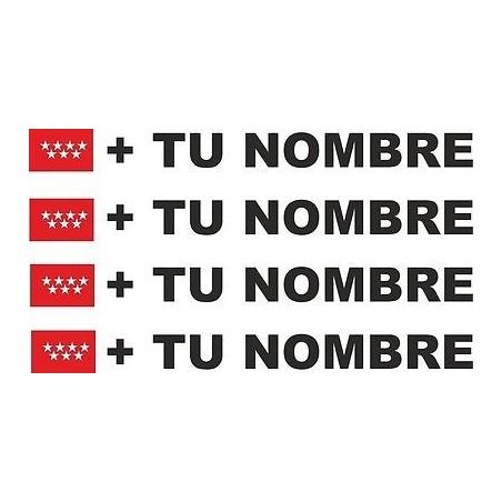 Bandera Madrid más tu nombre pegatinas vinilos stickers calcas etiquetas