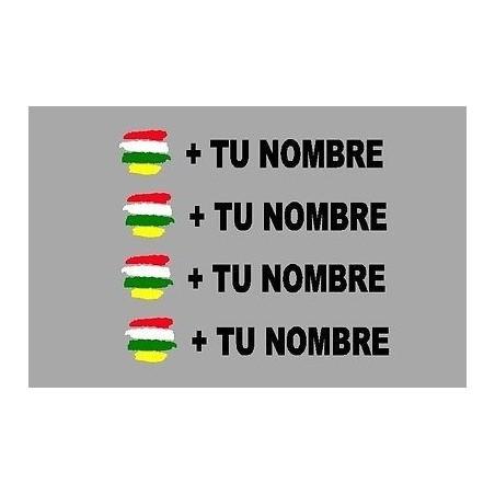 Bandera La Rioja mas tu nombre pegatinas vinilos stickers rotulos adhesivos