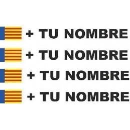 Bandera Valencia mas tu nombre pegatinas vinilos adhesivos stickers rotulos