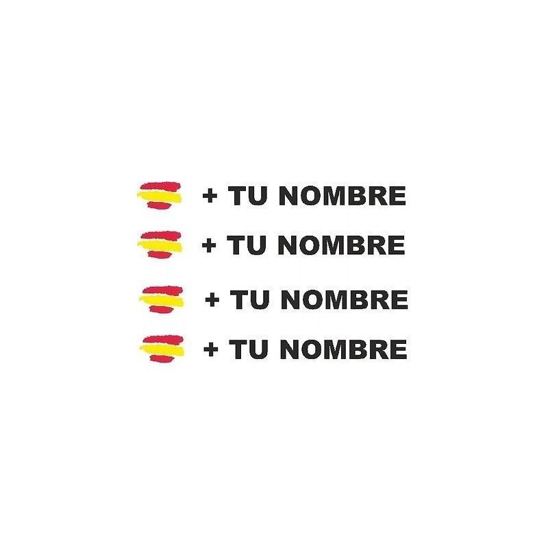 Bandera España más tu nombre pegatinas vinilos stickers vinilos adhesivos