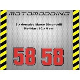pegatinas 58 Marco Simoncelli dorsales