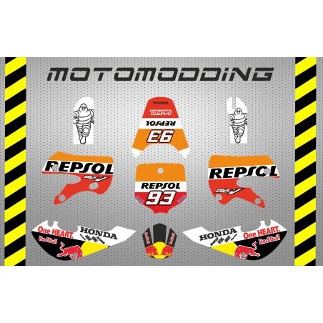Kit pegatinas Kawasaki kx65 repsol Marc Marquez réplica