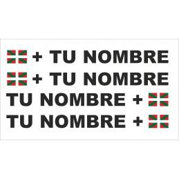 Bandera País Vasco + tu nombre pegatinas para bicicleta