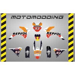 Kit pegatinas Malcor super racer réplica Marquez repsol honda 2018